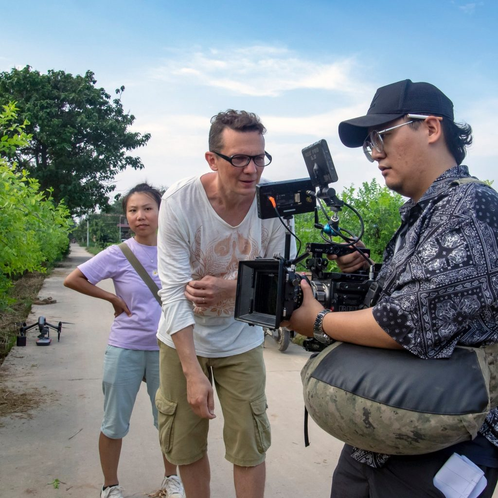 A photo of a video shoot in China.